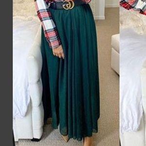 ZARA forest green maxi skirt